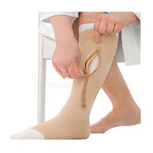 Jobst unisex UlcerCare knee-high zippered X-firm stocking,right, closure,open toe,large,beige