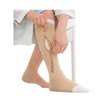 Jobst unisex UlcerCare knee-high X-firm stocking, rt closure open toe 3X-Large, beige