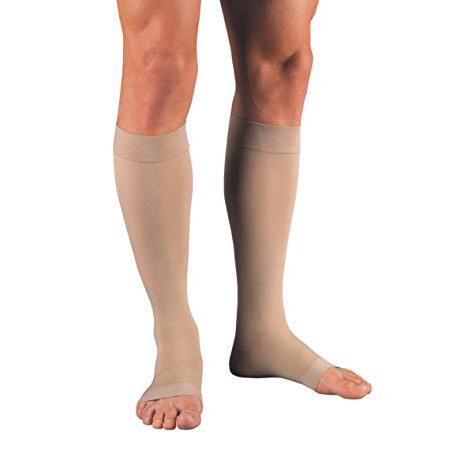 Jobst unisex Relief knee-high firm stockings, open toe, Large, silky beige