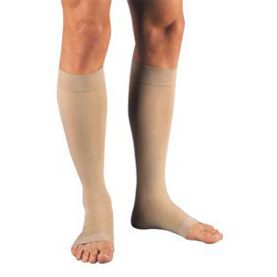 Jobst Unisex Relief Knee-High Extra Firm Compression Stockings, Open Toe, Medium, Beige