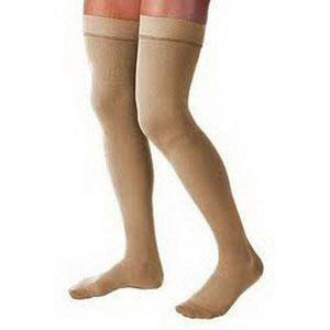 Jobst unisex Relief thigh-high stockings w/o silicone dot band, open toe Large, beige