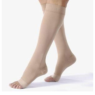 Jobst unisex Relief knee-high 15-20mmHg moderate compression stockings, open toe, large, beige
