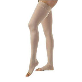 Jobst unisex Relief thigh-high moderate stockings with open toe, Small, beige