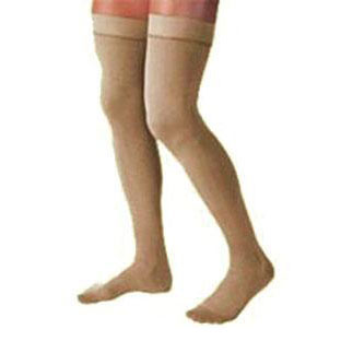 Jobst unisex Relief thigh-high moderate stockings with open toe, Meduim, beige