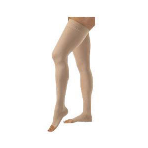 Jobst unisex Relief thigh-high moderate stockings with silicone top band X-large, beige