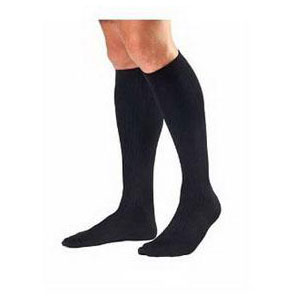 Jobst mens knee-high 30-40mmHg ribbed extra firm compression socks, closed toe, small, black