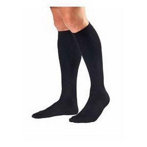 Jobst men's knee-high 30-40mmHg ribbed extra firm compression socks, closed toe, xl, black