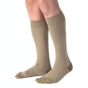 Jobst men's knee-high 30-40mmHg ribbed compression socks, closed toe, extra-large, khaki