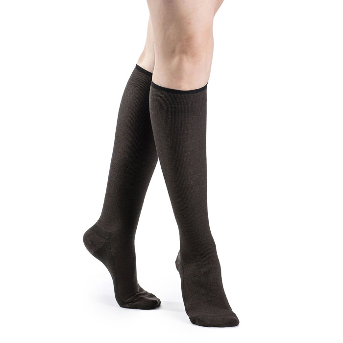 Jobst womens opaque knee-high moderate compression stockings, open toe, large, classic black