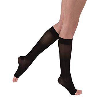 Jobst women's opaque knee-high 15-20mmHg moderate stockings, open toe, X-large,classic black