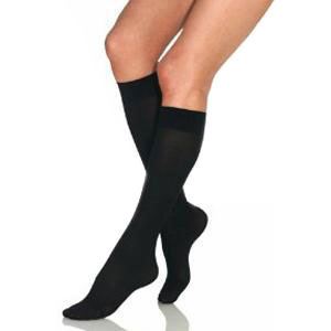 Jobst women's opaque knee-high 20-30mmHg firm stocking,closed toe, xl full calf,classic black