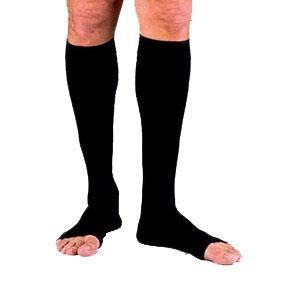 Jobst men's ribbed knee-high 20-30mmHg firm compression socks, open toe, lg full calf, black