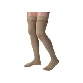 Jobst men's thigh-high 20-30mmHg ribbed firm compression stockings, closed toe, small, khaki