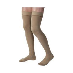 Jobst men's thigh-high 20-30mmHg ribbed firm compression stockings, closed toe, large, khaki