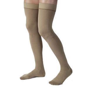 Jobst men's thigh-high 30-40mmHg ribbed extra firm stockings, closed toe, Small, khaki