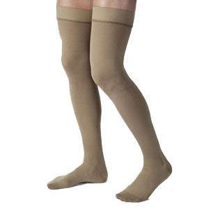 Jobst men's thigh-high 30-40mmHg ribbed extra firm stockings, closed toe, Extra-large, khaki