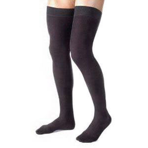 Jobst men's thigh-high 20-30mmHg ribbed firm stockings, closed toe, 20-30 mmHg Small, black