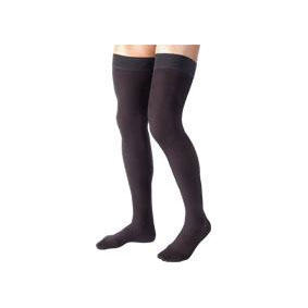 Jobst mens thigh-high 20-30mmHg ribbed firm compression stockings, closed toe, medium, black