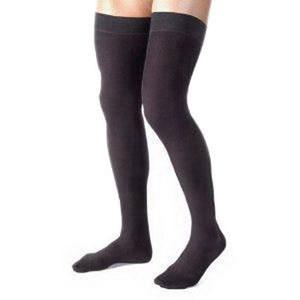 Jobst men's thigh-high 30-40mmHg ribbed firm stockings, closed toe, 30-40 mmHg Small, black