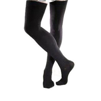 Jobst men's thigh-high 30-40mmHg ribbed extra firm stockings, closed toe, Large, black