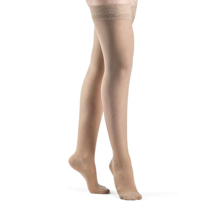 Jobst women's opaque thigh-high compression stockings with silicone band, closed toe, medium