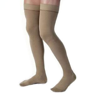 Jobst men's thigh-high 15-20mmHg ribbed moderate stockings, closed toe, Small, khaki
