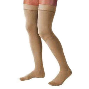 Jobst men's thigh-high 15-20mmHg ribbed moderate stockings, closed toe, Large, khaki