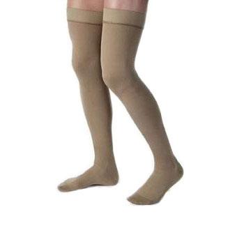 Jobst men's thigh-high 15-20mmHg ribbed moderate stockings, closed toe, Extra-large, khaki