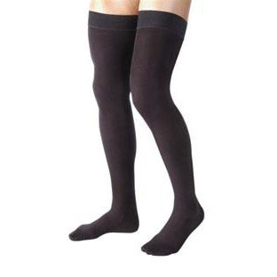 Jobst men's thigh-high 15-20mmHg ribbed moderate stockings, closed toe, Small, black