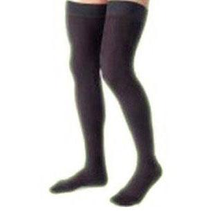 Jobst men's thigh-high 15-20mmHg ribbed moderate stockings, closed toe, Medium, black