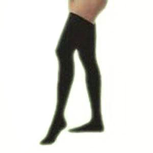 Jobst men's thigh-high 15-20mmHg ribbed moderate stockings, closed toe, Large, black