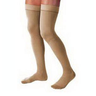 Jobst women's opaque thigh-high 30-40mmHg extra firm stocking, open toe, X-large, silky beige