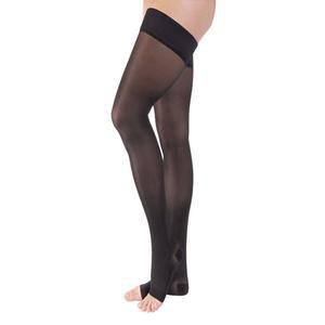 Jobst women's opaque thigh-high 30-40mmHg extra firm stocking, open toe, xl, classic black
