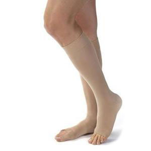 Jobst women's opaque knee-high 30-40mmHg extra firm stocking, open toe, large petite, natural