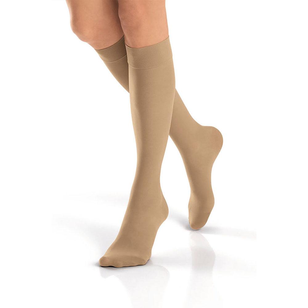 Jobst women's UltraSheer SupportWear knee-high mild stocking, closed toe, medium silky beige