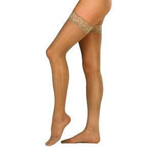 Jobst women's UltraSheer thigh-high 20-30mmHg firm stocking, small, petite, suntan
