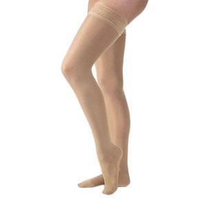 Jobst UltraSheer thigh-high 20-30mmHg firm stockings with silicone strip, Medium, espresso