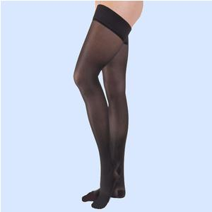 Jobst women's UltraSheer thigh-high 15-20mmHg moderate stocking, open toe, large classic black-pair