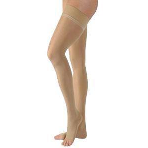 Jobst women's UltraSheer thigh-high 20-30mmHg firm stocking, open toe, medium honey