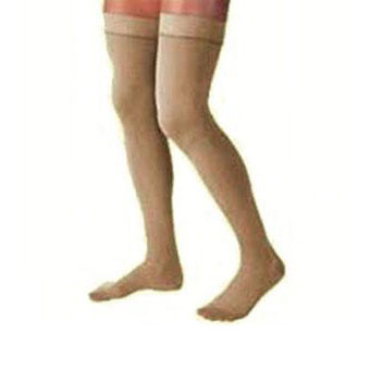 Jobst women's UltraSheer thigh-high 20-30mmHg firm stocking,dot band closed toe,small suntan