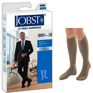 Jobst for Men Ambition Knee-High 15-20mmHg Socks, Closed Toe, Size 3 Long, Khaki