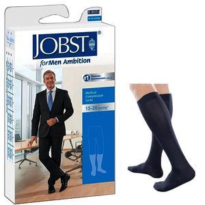 Jobst for Men Ambition Knee-High 15-20mmHg Socks, Closed Toe, Size 3 Long, Navy
