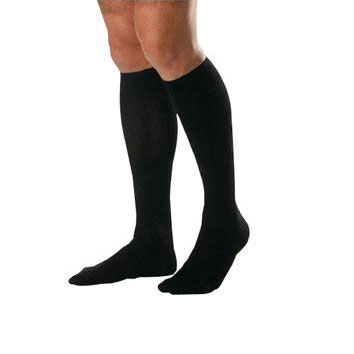 Jobst Ambition men's knee-high 30-40mmHg firm compression socks, size 4 reg, black ribbed