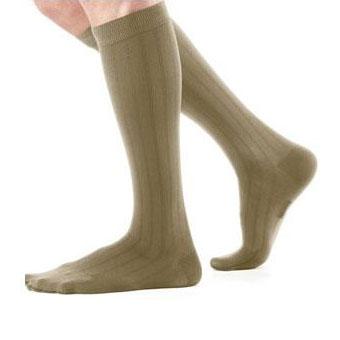 Jobst Ambition men's knee-high 30-40mmHg extra firm socks closed toe,size 4 reg, khaki ribbed