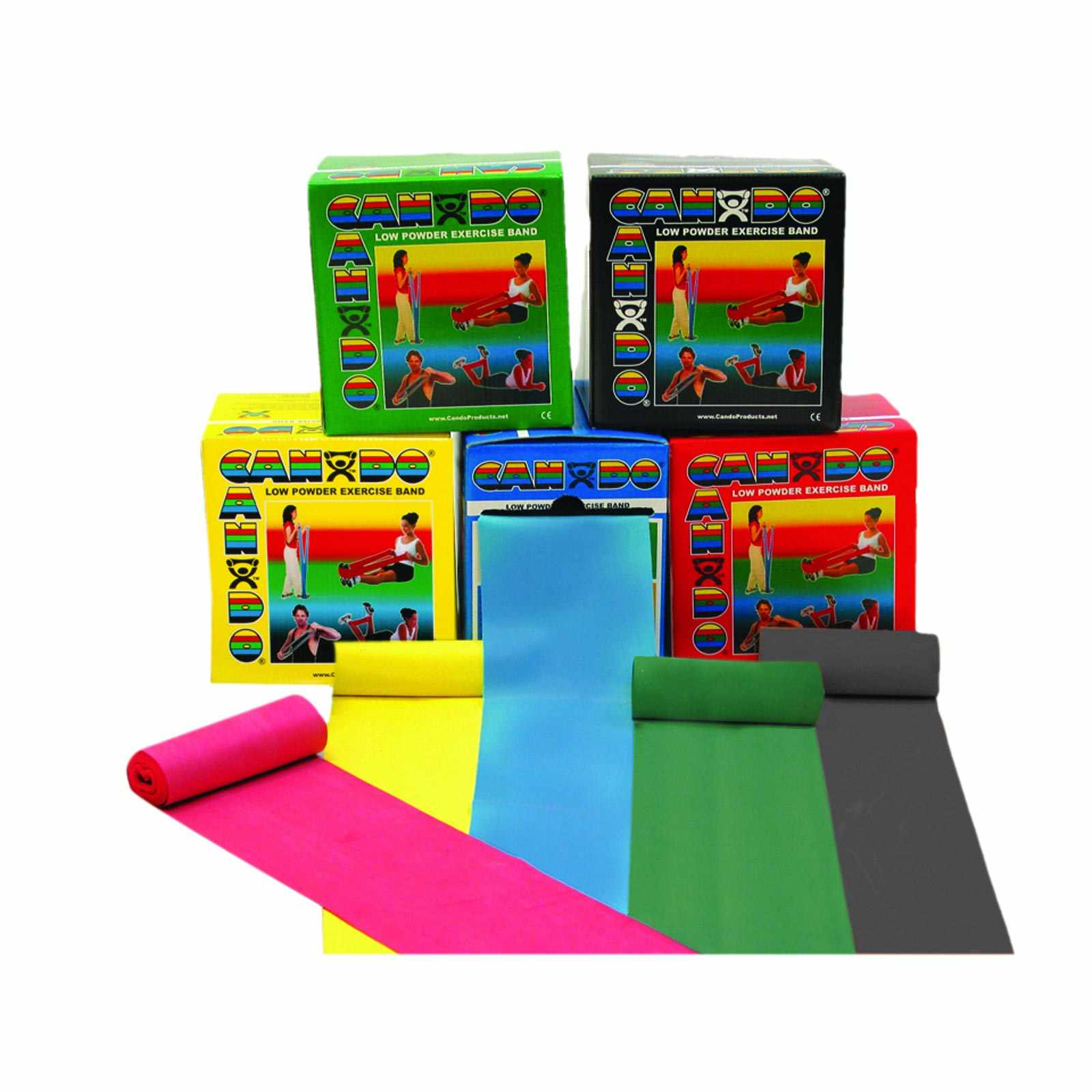 CanDo Low Powder Exercise Band Roll Set