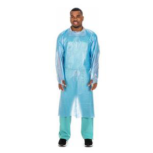 Cardinal Over-The-Head Blue Poly-Coated Isolation Gown, Universal
