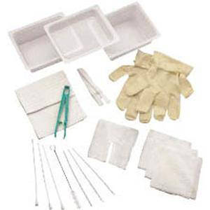 Carefusion Complete Tracheostomy Cleaning Tray with 2 Vinyl Latex Gloves, Sterile