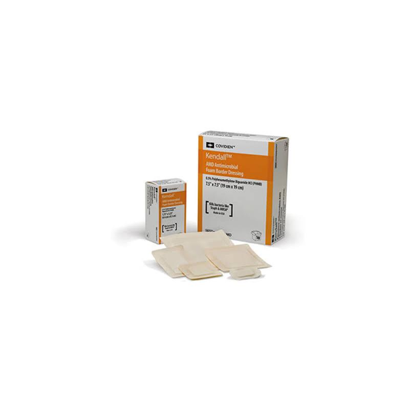 """Cardinal AMD Gentle Border Antimicrobial Foam Dressing, 9-1/4 x 9-1/4"""""""