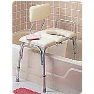 Carex Deluxe Vinyl Padded Transfer Bench with Cut Out and Commode Pail