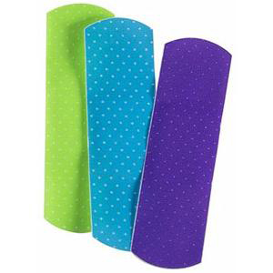 "Cardinal Health Adhesive Plastic Bandage, Neon Design, 0.75"" x 3"""